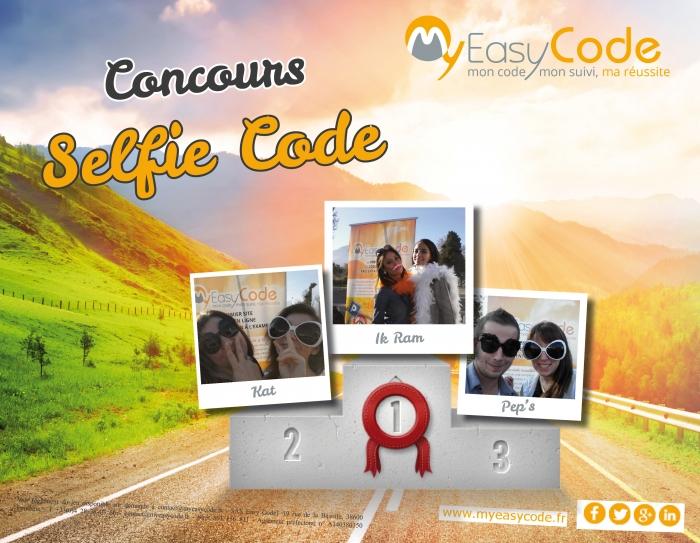 resultat concours selfie code